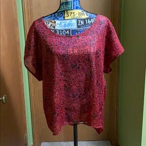 Style&Co Sheer Shimmer S/S Top Size L